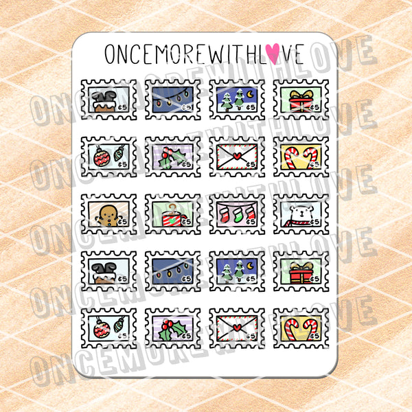 M690 - Winter Holiday Stamps Deco Planner Stickers