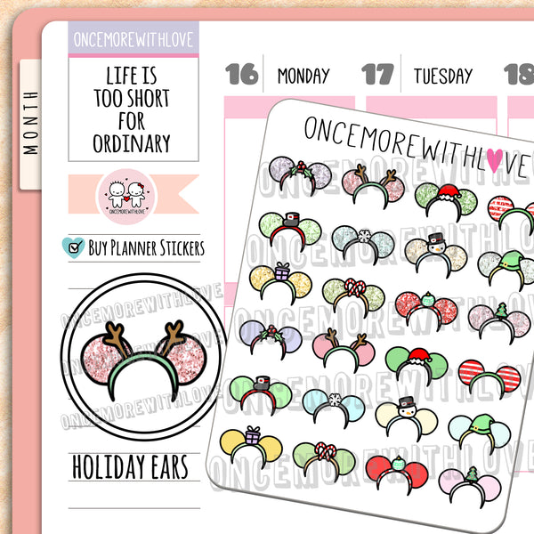 M693 - Holiday Mice Ears Deco Planner Stickers