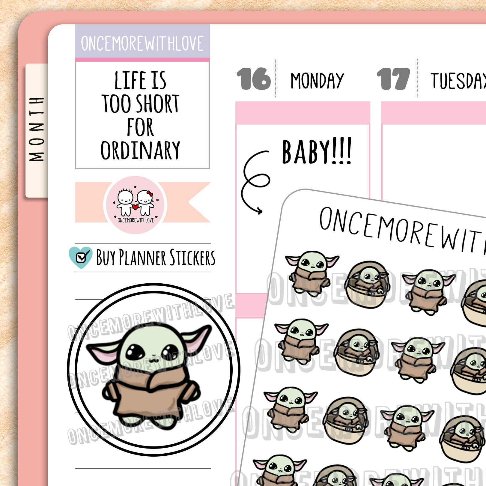 M701 - Baby Yodakin Munchkin Planner Stickers (FINAL STOCK)