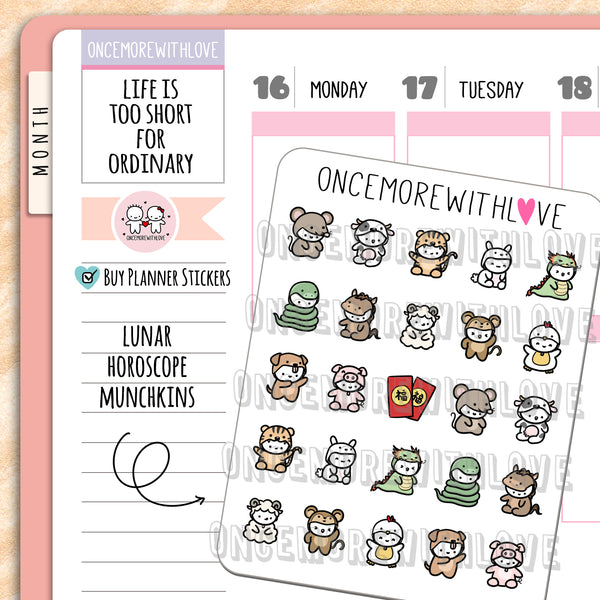 M716 - Chinese New Year Horoscope Animals Munchkin Planner Stickers