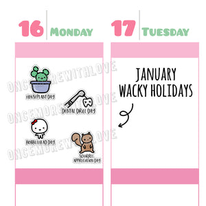 Wacky Holidays - January 2019 Planner Stickers (2019 - W01)