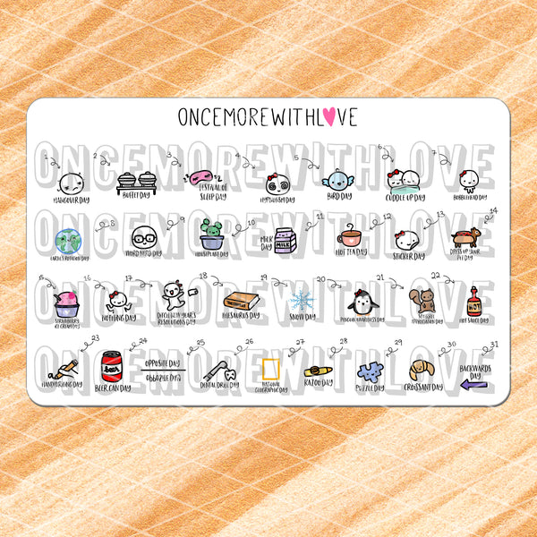 W01 - January 2019 Wacky Holidays Planner Stickers (2019 - W01)
