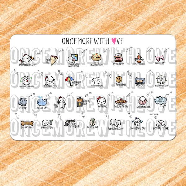 W02 - February 2019 Wacky Holidays Planner Stickers (2019 - W02)