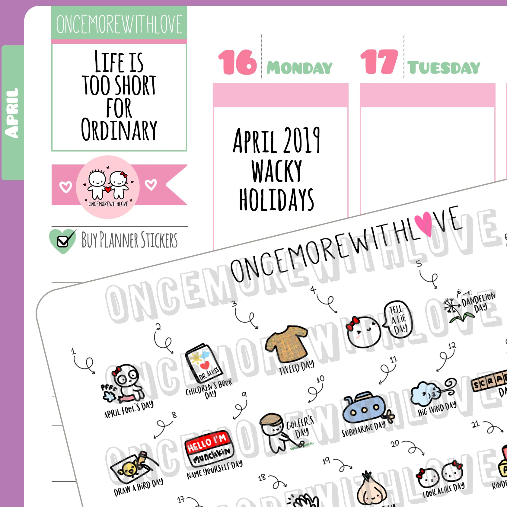 W04 - April 2019 Wacky Holidays Planner Stickers (2019 - W04)
