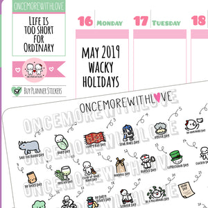 W05 - May 2019 Wacky Holidays Planner Stickers (2019 - W05)