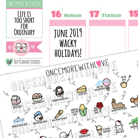 W06 - June 2019 Wacky Holidays Planner Stickers (2019 - W06)