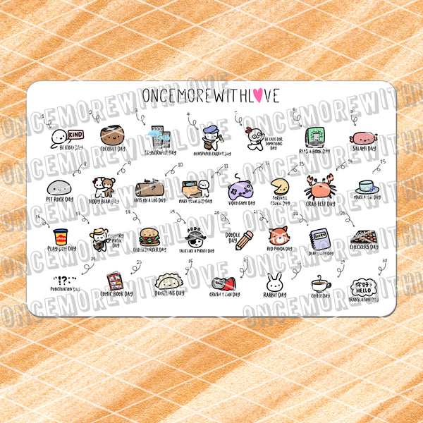 W09 - September 2019 Wacky Holidays Planner Stickers (2019 - W09)