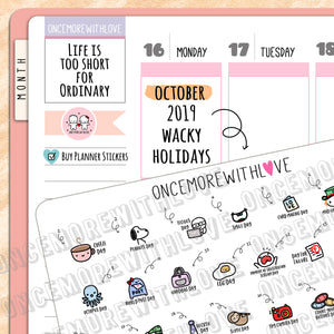 W10 - October 2019 Wacky Holidays Planner Stickers (2019 - W10)