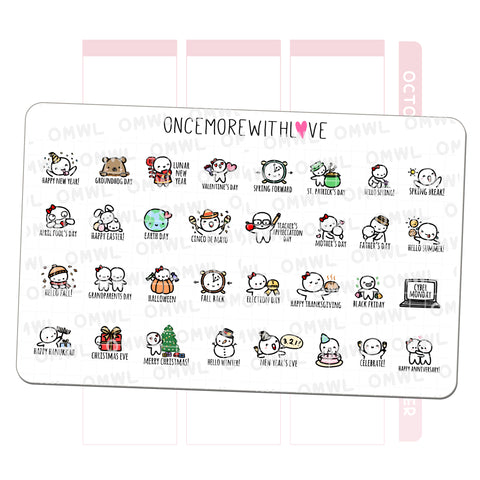 W13 - Annual Holiday and Celebrations Planner Stickers (W13)