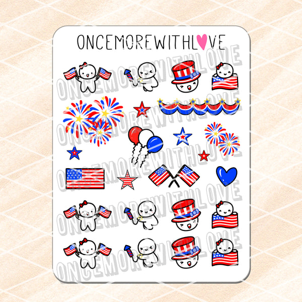 M832 - Fourth of July 3.0 Munchkin Planner Stickers