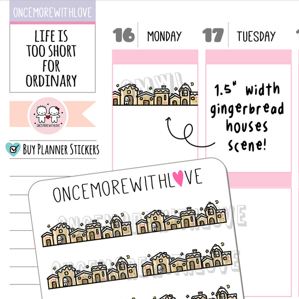 M964 - Gingerbread Houses Scene Munchkin Planner Stickers