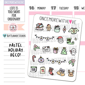 M975 - Pastel Holiday Doodle Deco Munchkin Planner Stickers