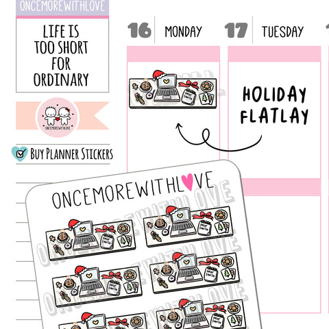 V207 - Holiday Computer Flatlay Planner Stickers