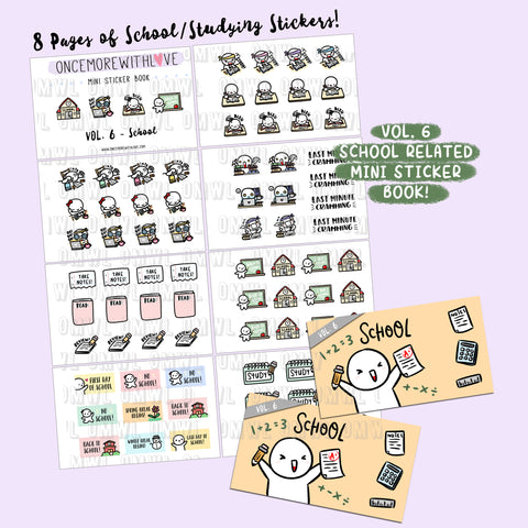 "MINI STICKER BOOK - Vol. 6 ""School"" Folding Closure Sticker Book"
