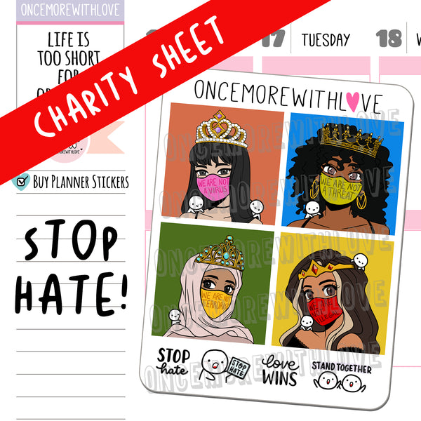 M1046 - Stop Hate Sampler // Indy&Ivy Collab Planner Stickers