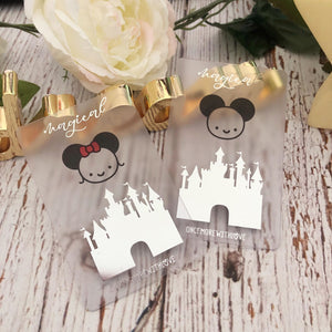 WASHI CARD - Set of 2 // Silver Foiled Castle and Mice Washi Cards (Mice Washi Cards)