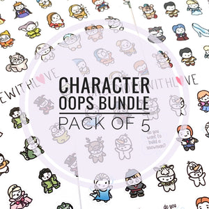 CHARACTER OOPS - 5 Sheets of Assorted Character Costume Planner Stickers!