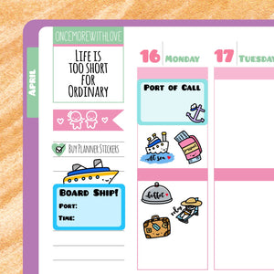 M66 - Cruise Vacation Travel the World Trip Munchkin Planner Stickers