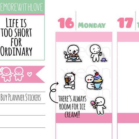 M258 - Ice Cream, Froyo, Sundaes, and Popsicle Lovers! Munchkin Planner Stickers
