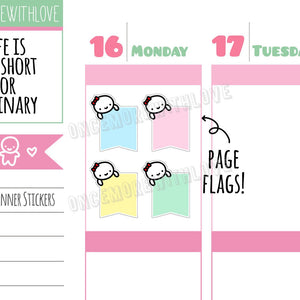 M292 - Vertical Pastel Peeking Munchkin Flags Planner Stickers