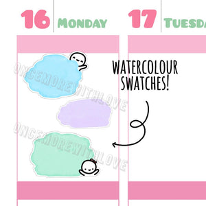 Munchkins - Pastel Watercolour Munchkin Swatches Planner Stickers (M280)