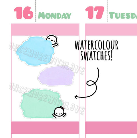 M280 - Pastel Watercolour Munchkin Swatches Planner Stickers