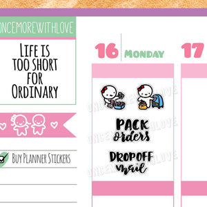M278 - Pack Orders and Mail Hand-Lettered Girl Boss Munchkin Planner Stickers
