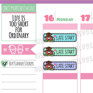 M307 - Back to School! Rainbow Late Start School Munchkin Planner Stickers