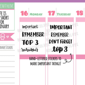 V128* - Hand-Lettered - Important, Top 3, Remember, Don't Forget Variety Planner Stickers
