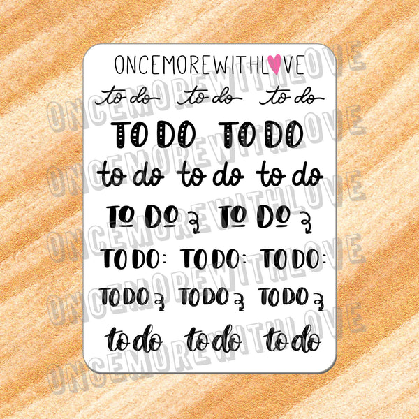 V127* - Hand-Lettered - To Do Variety Planner Stickers