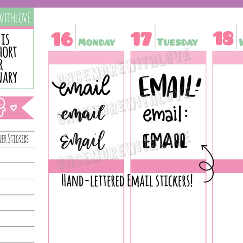V126* - Hand-Lettered - Email Variety Planner Stickers