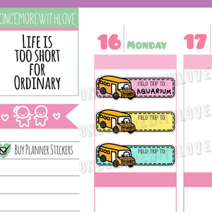 M305 - Back to School! Rainbow Field Trip Fill-It-In School Munchkin Planner Stickers