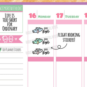 V133* - Cute Pastel Airplane Book Flight Travel Reminder Planner Stickers