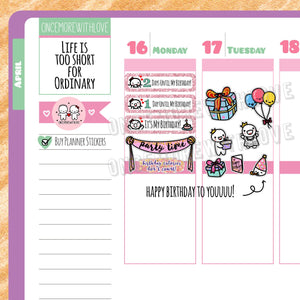 M181 - Happy Birthday Glitter Countdown Munchkin Planner Stickers (FINAL STOCK)