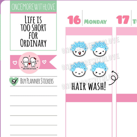 M414 - Hair Wash, Bubble Bath, or Shower 2.0 Munchkin Planner Stickers