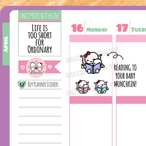 M316 - Mom Life Bedtime Stories Reading Time Munchkin Planner Stickers