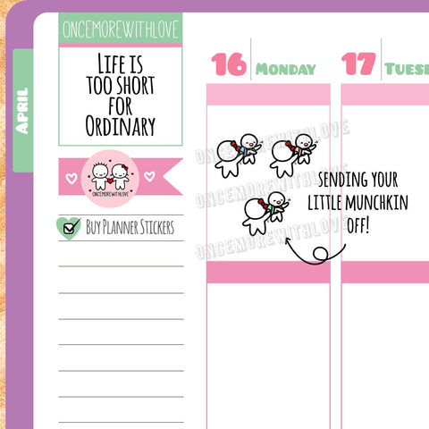 M315 - Mom Life Drop Off Kid Munchkin Planner Stickers