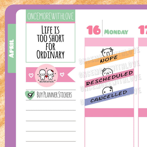 Munchkins - Rescheduled and Cancelled Planner Stickers (M03)