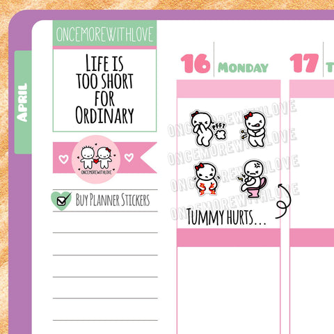 M215 - Stomachache, Indigestion, Upset Stomach Munchkin Planner Stickers (FINAL STOCK)