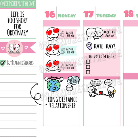 M369 - Long Distance Relationship Countdown Munchkin Planner Stickers (FINAL STOCK)
