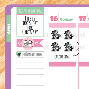 Munchkins - Treadmill Running Cardio Workout Planner Stickers (M287)