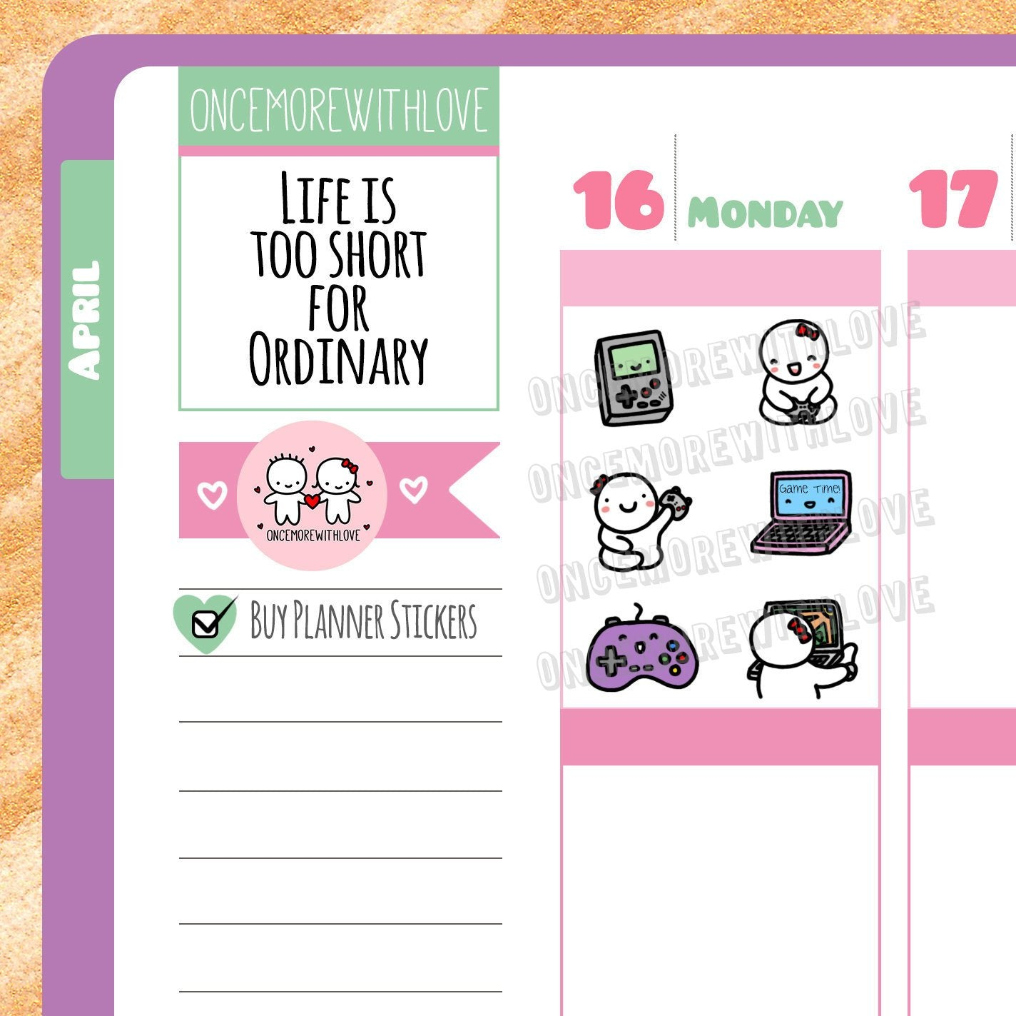Munchkins - Gaming Time Console and Computer Game Planner Stickers (M40)