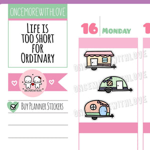 Cute Pastel Camper Trailer Planner Stickers (V140)