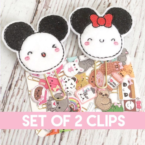 CLIPS - Mice Munchkins Felt Planner Clip Set of 2