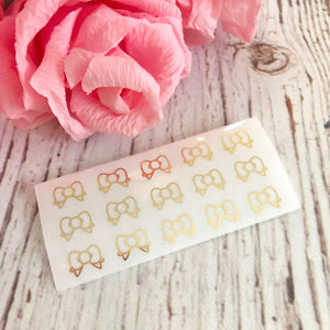 GOLD Foiled Sampler OMWL Bows Transparent Glossy Header Stickers (Foil Bow Sampler)