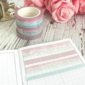 SWEETHEART Collection // Ever After Series with Silver Foiling Set of 4 Washi Tapes (Sweetheart 4)