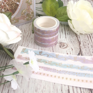 SIDEWALK CHALK Collection // Ever After Series with Matte Champagne Gold Foiling Set of 4 Washi Tapes (Sidewalk Chalk 4)