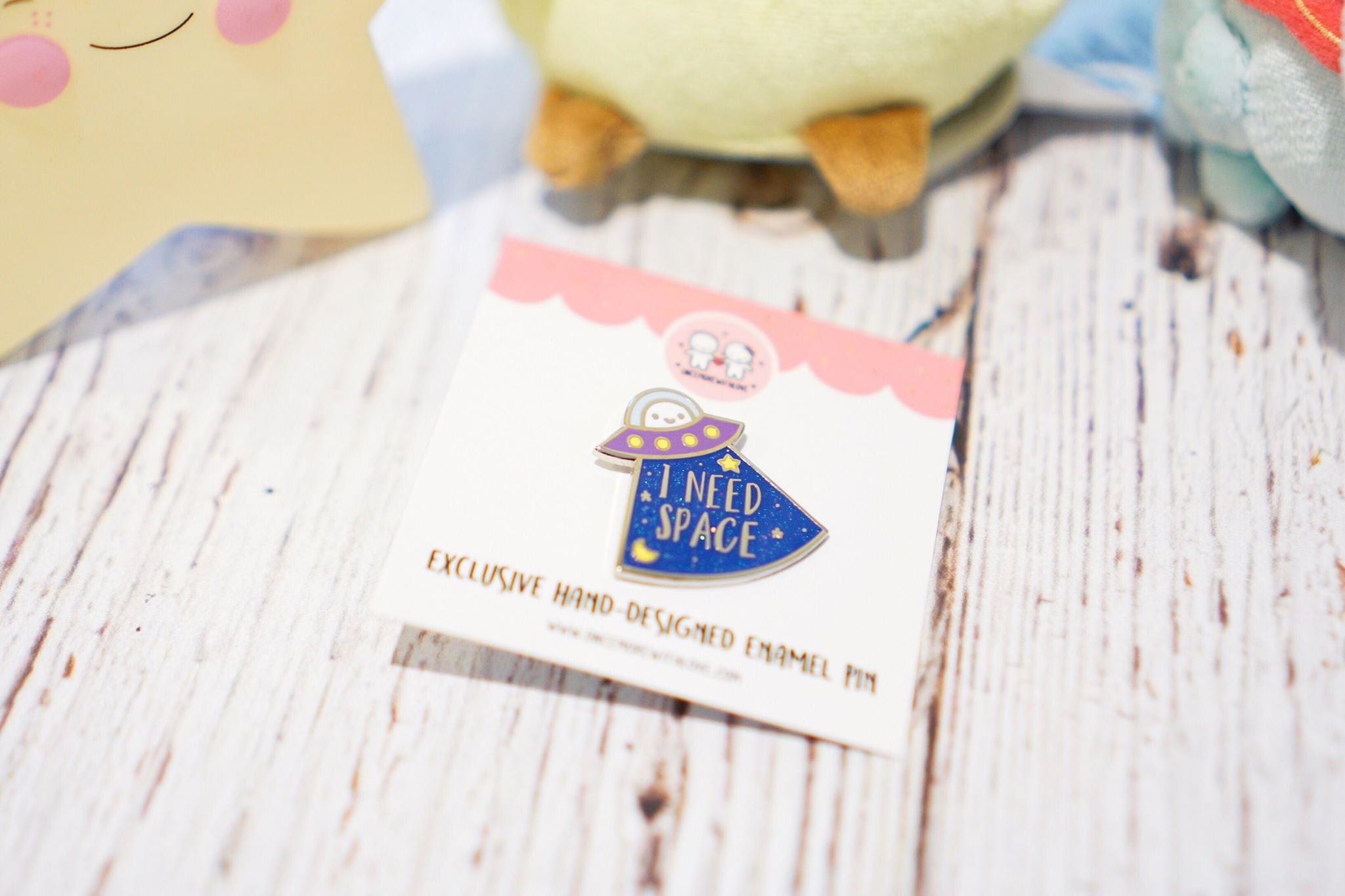 PIN - I Need Space // Silver Nickel Plated Hard Enamel Lapel Pin with Blue Glitter