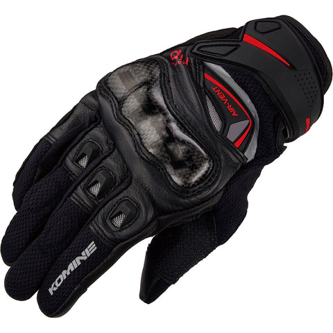 Komine Carbon Protect Leather Mesh Gloves (GK-224)