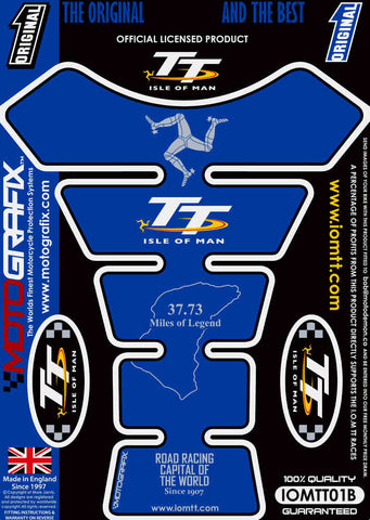 Motografix Isle Of Man TT Races Official Licensed Tank Pad Blue